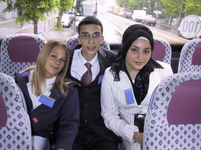 Im Bus vor der Preisverleihung